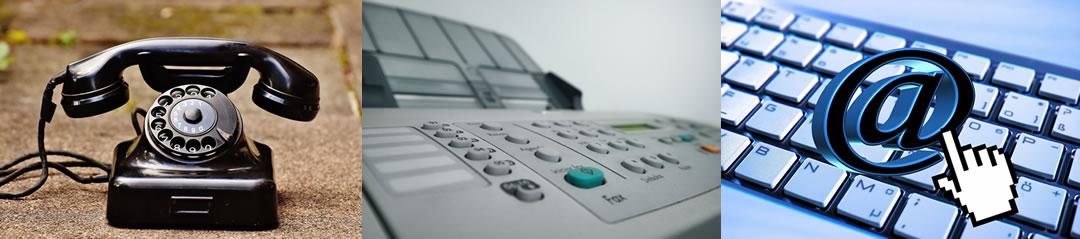 Kontakt über Telefon, Fax oder Email